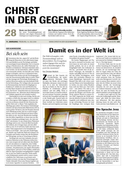 CHRIST IN DER GEGENWART 71. Jahrgang (2019) Nr. 28/2019