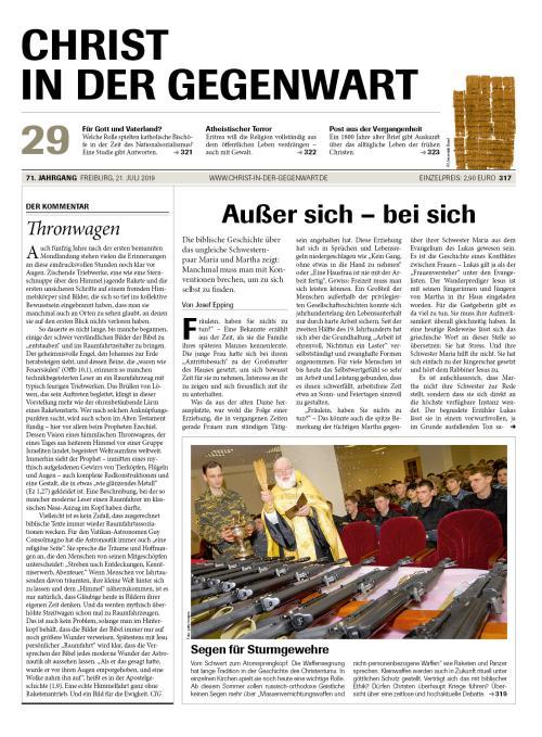 CHRIST IN DER GEGENWART 71. Jahrgang (2019) Nr. 29/2019