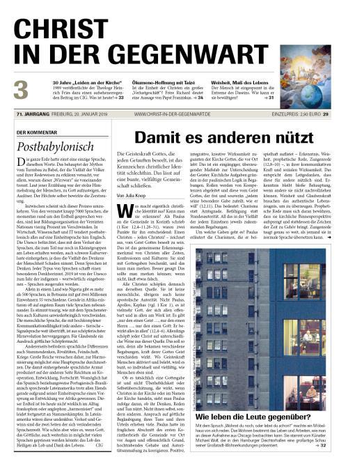 CHRIST IN DER GEGENWART 71. Jahrgang (2019) Nr. 3/2019
