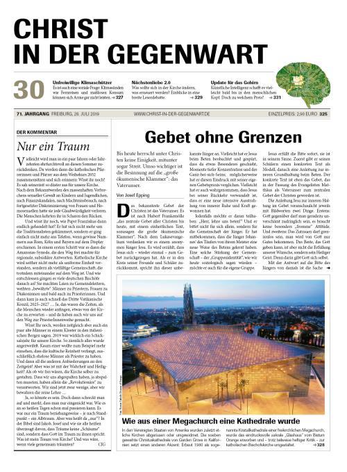 CHRIST IN DER GEGENWART 71. Jahrgang (2019) Nr. 30/2019