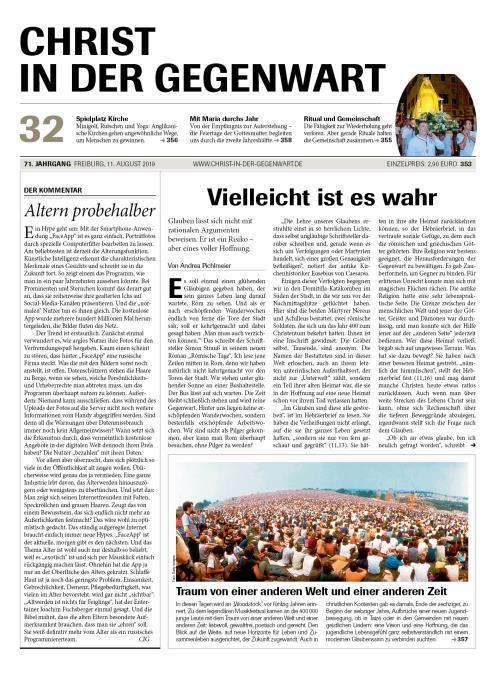 CHRIST IN DER GEGENWART 71. Jahrgang (2019) Nr. 32/2019