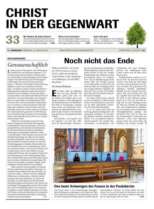 CHRIST IN DER GEGENWART 71. Jahrgang (2019) Nr. 33/2019