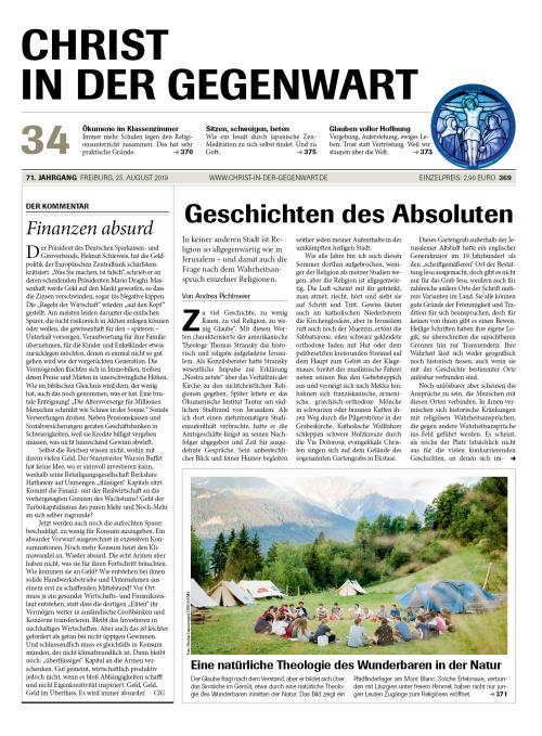 CHRIST IN DER GEGENWART 71. Jahrgang (2019) Nr. 34/2019