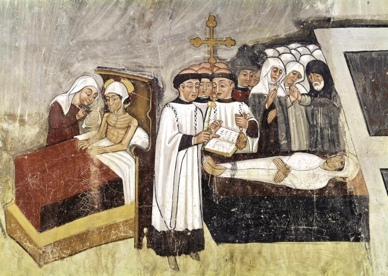 """""""Seid barmherzig, wie euer Vater barmherzig ist"""": Krankenpflege und Totenbestattung auf einem Fresko der Kirche San Fiorenzo in Bastia Montovi (Italien)."""
