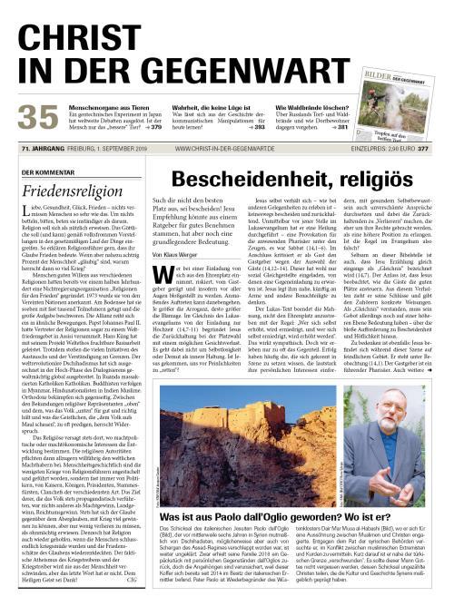 CHRIST IN DER GEGENWART 71. Jahrgang (2019) Nr. 35/2019
