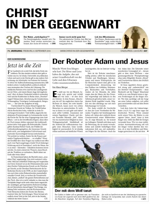 CHRIST IN DER GEGENWART 71. Jahrgang (2019) Nr. 36/2019