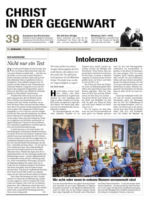 CHRIST IN DER GEGENWART 71. Jahrgang (2019) Nr. 39/2019