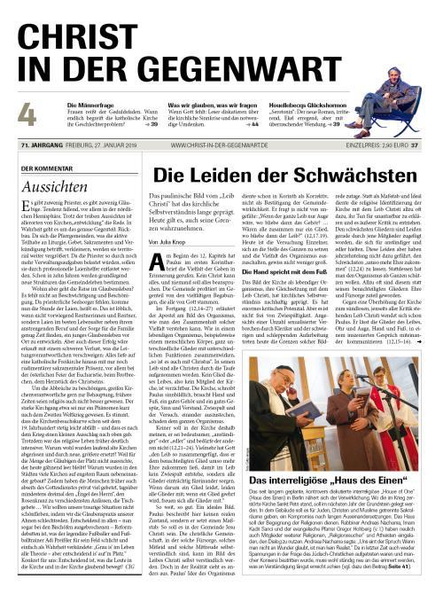 CHRIST IN DER GEGENWART 71. Jahrgang (2019) Nr. 4/2019