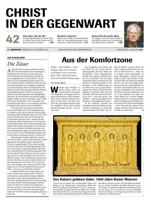 CHRIST IN DER GEGENWART 71. Jahrgang (2019) Nr. 42/2019
