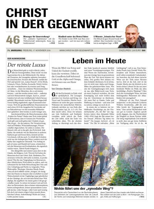 CHRIST IN DER GEGENWART 71. Jahrgang (2019) Nr. 46/2019