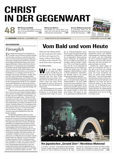 CHRIST IN DER GEGENWART 71. Jahrgang (2019) Nr. 48/2019