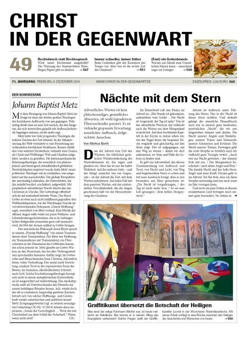 CHRIST IN DER GEGENWART 71. Jahrgang (2019) Nr. 49/2019