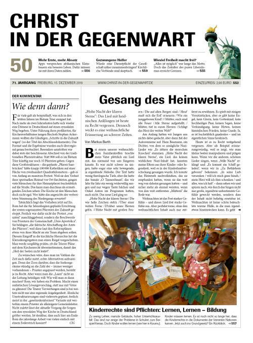 CHRIST IN DER GEGENWART 71. Jahrgang (2019) Nr. 50/2019