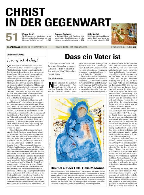 CHRIST IN DER GEGENWART 71. Jahrgang (2019) Nr. 51/2019
