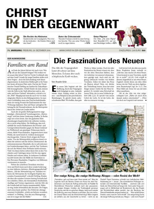 CHRIST IN DER GEGENWART 71. Jahrgang (2019) Nr. 52/2019