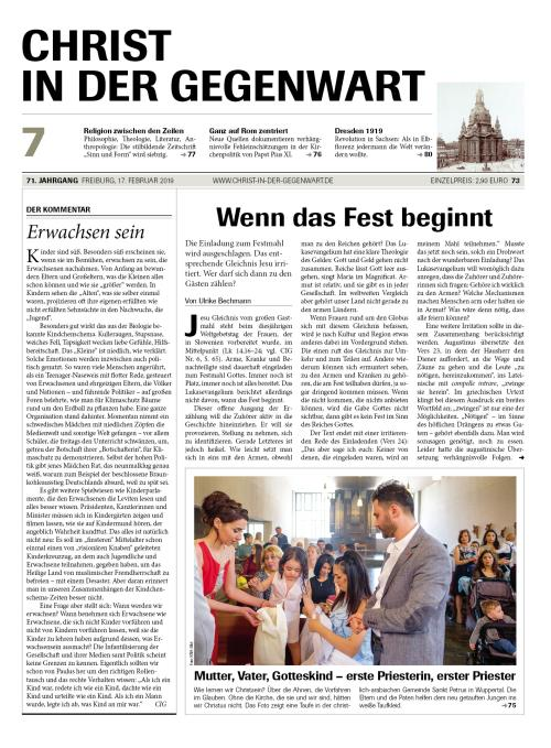 CHRIST IN DER GEGENWART 71. Jahrgang (2019) Nr. 7/2019