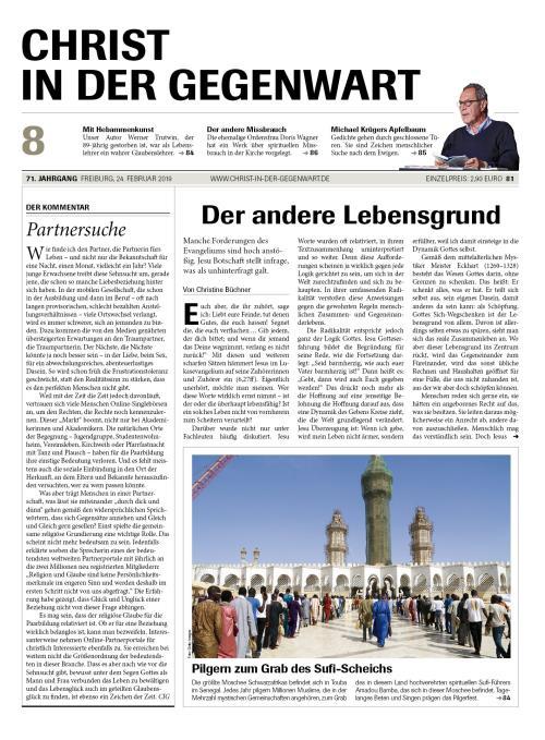CHRIST IN DER GEGENWART 71. Jahrgang (2019) Nr. 8/2019
