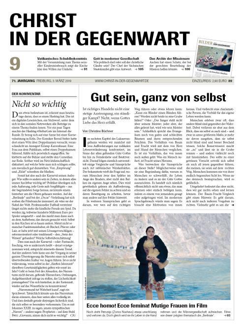 CHRIST IN DER GEGENWART 71. Jahrgang (2019) Nr. 9/2019