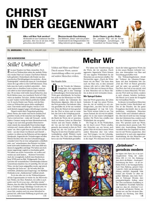 CHRIST IN DER GEGENWART 72. Jahrgang (2020) Nr. 1/2020