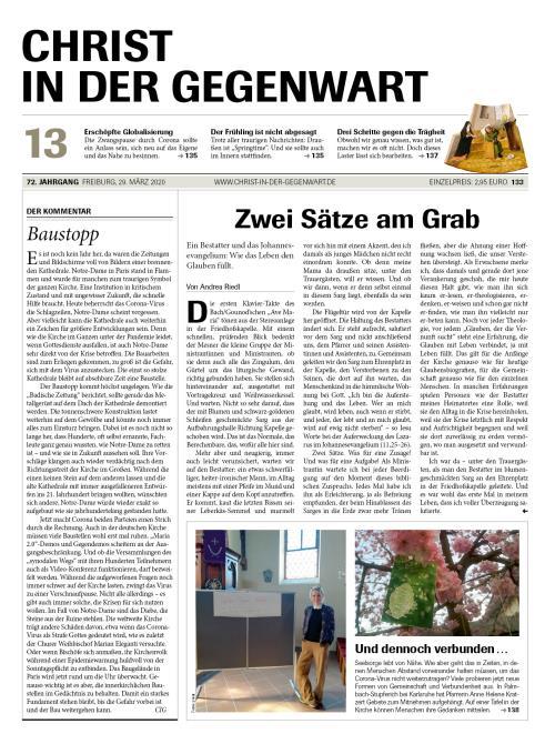 CHRIST IN DER GEGENWART 72. Jahrgang (2020) Nr. 13/2020