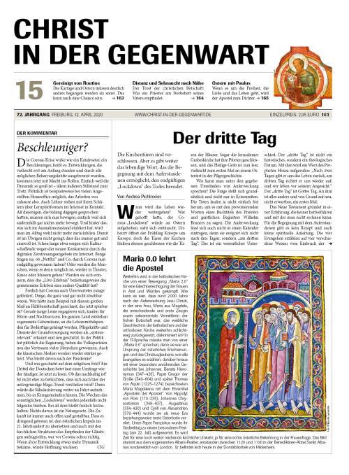 CHRIST IN DER GEGENWART 72. Jahrgang (2020) Nr. 15/2020