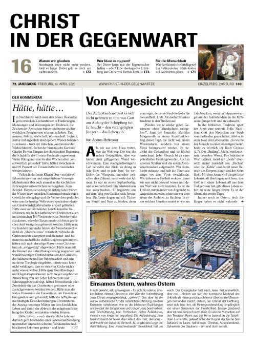 CHRIST IN DER GEGENWART 72. Jahrgang (2020) Nr. 16/2020