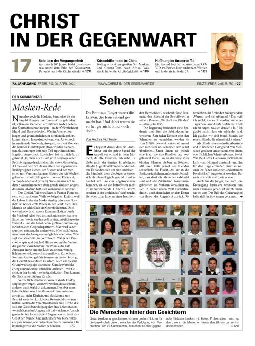 CHRIST IN DER GEGENWART 72. Jahrgang (2020) Nr. 17/2020