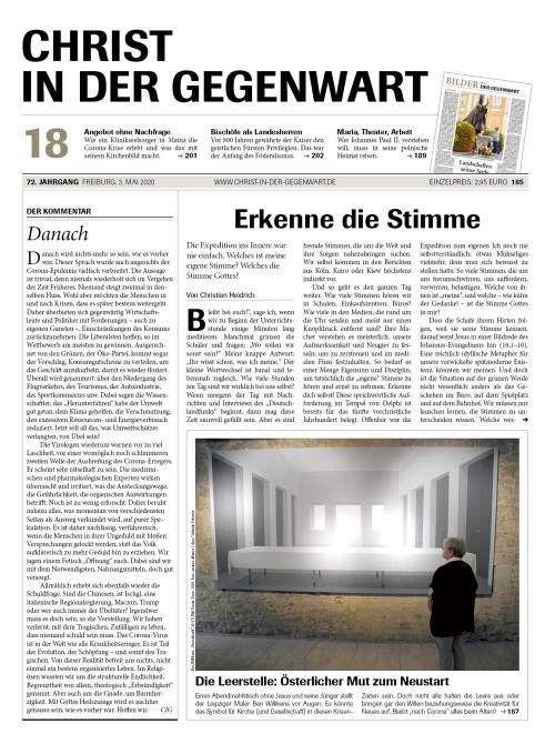 CHRIST IN DER GEGENWART 72. Jahrgang (2020) Nr. 18/2020