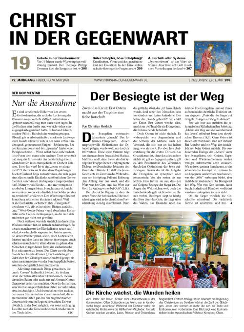 CHRIST IN DER GEGENWART 72. Jahrgang (2020) Nr. 19/2020