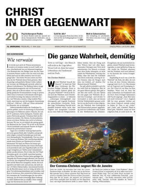 CHRIST IN DER GEGENWART 72. Jahrgang (2020) Nr. 20/2020