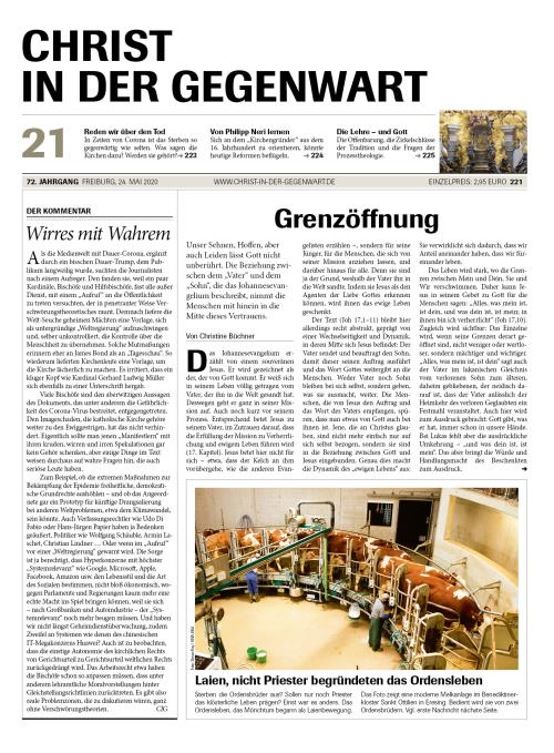 CHRIST IN DER GEGENWART 72. Jahrgang (2020) Nr. 21/2020
