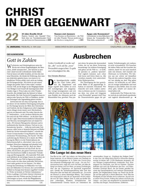 CHRIST IN DER GEGENWART 72. Jahrgang (2020) Nr. 22/2020