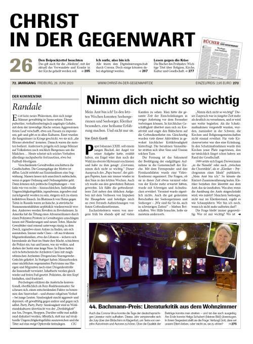 CHRIST IN DER GEGENWART 72. Jahrgang (2020) Nr. 26/2020