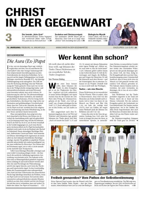 CHRIST IN DER GEGENWART 72. Jahrgang (2020) Nr. 3/2020