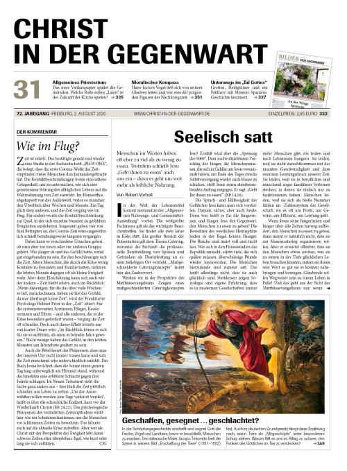 CHRIST IN DER GEGENWART 72. Jahrgang (2020) Nr. 31/2020