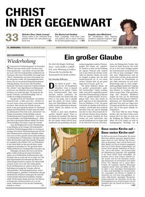 CHRIST IN DER GEGENWART 72. Jahrgang (2020) Nr. 33/2020