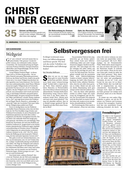 CHRIST IN DER GEGENWART 72. Jahrgang (2020) Nr. 35/2020