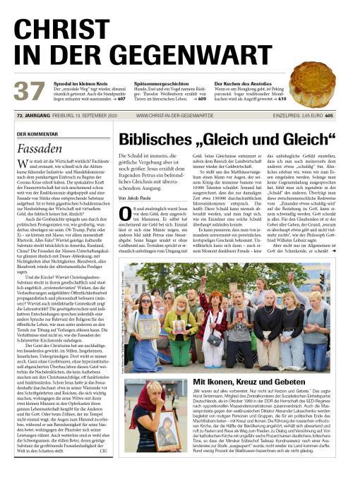 CHRIST IN DER GEGENWART 72. Jahrgang (2020) Nr. 37/2020