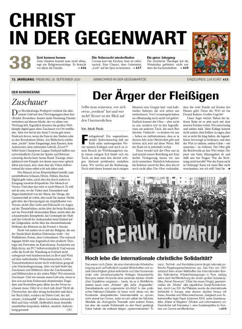 CHRIST IN DER GEGENWART 72. Jahrgang (2020) Nr. 38/2020