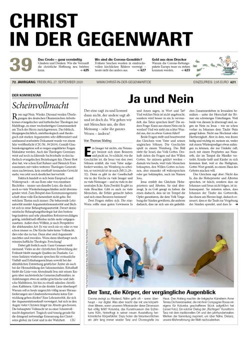 CHRIST IN DER GEGENWART 72. Jahrgang (2020) Nr. 39/2020