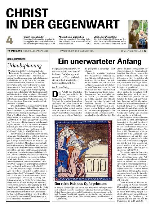 CHRIST IN DER GEGENWART 72. Jahrgang (2020) Nr. 4/2020