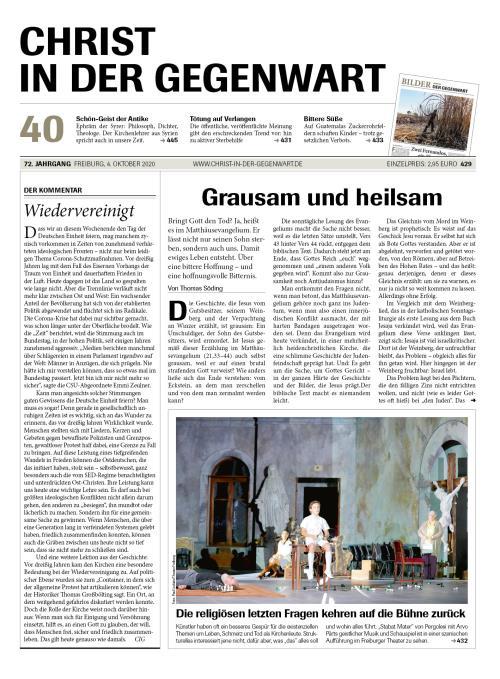 CHRIST IN DER GEGENWART 72. Jahrgang (2020) Nr. 40/2020