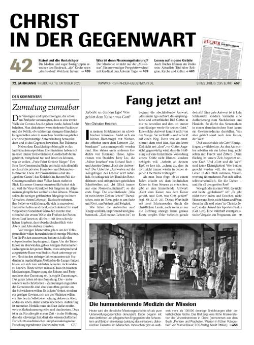CHRIST IN DER GEGENWART 72. Jahrgang (2020) Nr. 42/2020