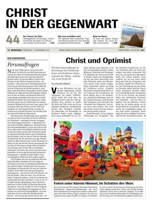 CHRIST IN DER GEGENWART 72. Jahrgang (2020) Nr. 44/2020