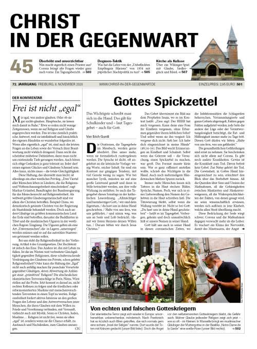 CHRIST IN DER GEGENWART 72. Jahrgang (2020) Nr. 45/2020