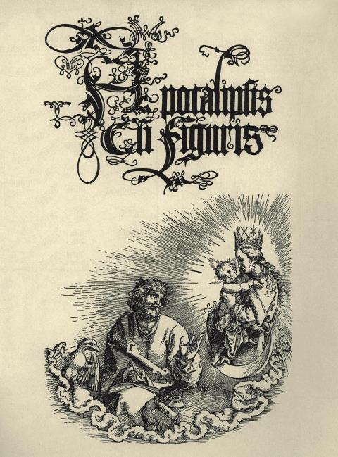 Johannes vor der Muttergottes. Titelblatt der lateinischen Ausgabe der Apokalypse von Albrecht Dürer, 1511