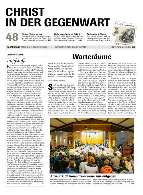 CHRIST IN DER GEGENWART 72. Jahrgang (2020) Nr. 48/2020