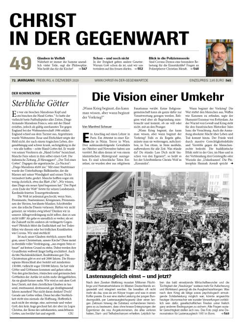 CHRIST IN DER GEGENWART 72. Jahrgang (2020) Nr. 49/2020