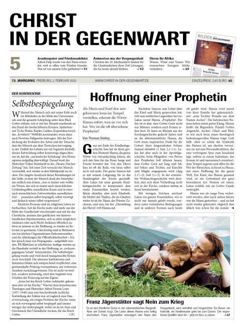 CHRIST IN DER GEGENWART 72. Jahrgang (2020) Nr. 5/2020