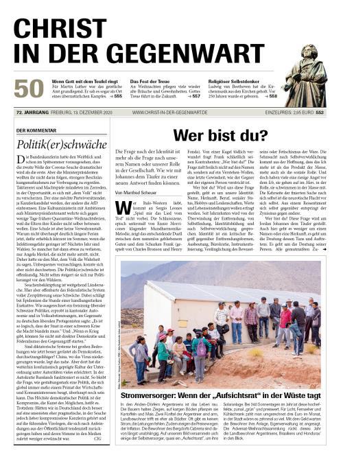 CHRIST IN DER GEGENWART 72. Jahrgang (2020) Nr. 50/2020